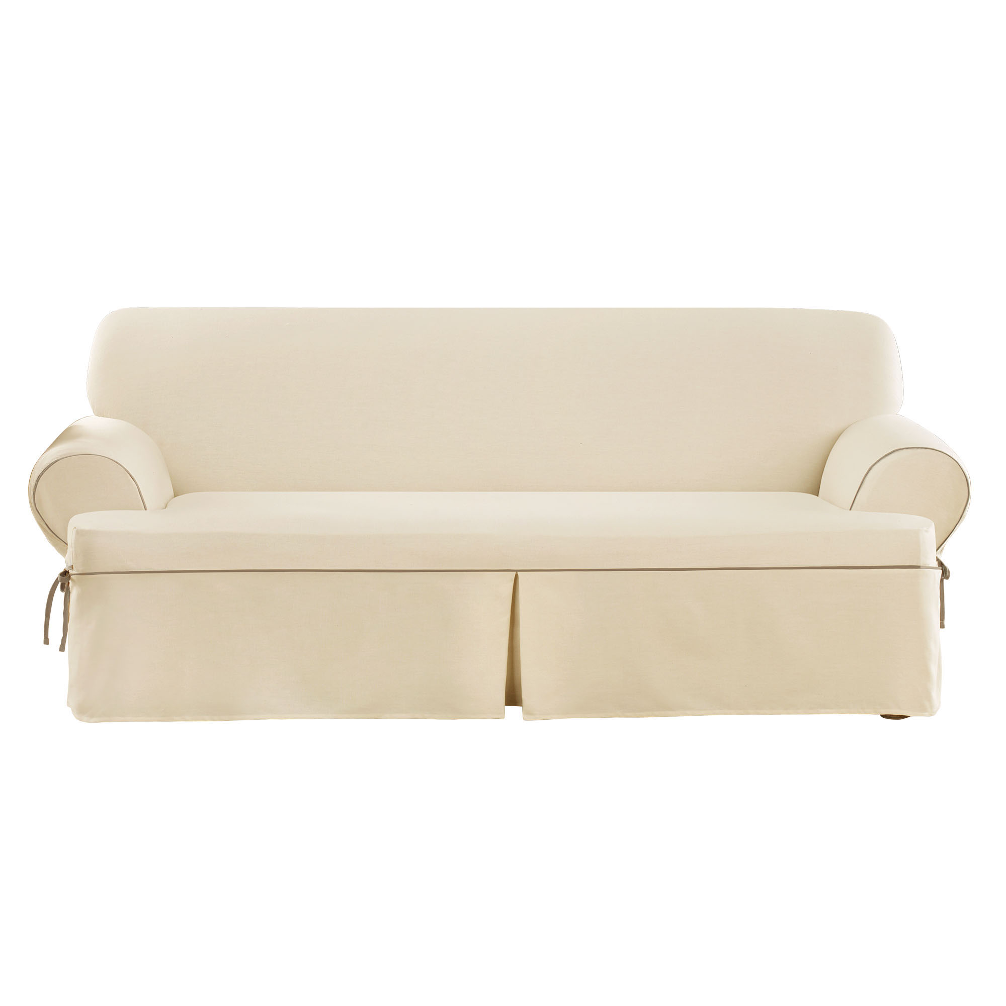 Sure Fit Cvc Contrast Cord Duck T Cushion Sofa Slipcover Natural Cocoa Ebay